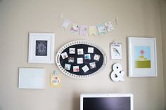 Gallery wall: chalkboard-painted IKEA tray + super cool magnetic Instagram photo magnets by PicPack  {oh my little dears}  ...for the playroom/office