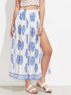 #AdoreWe #ROMWE ROMWE Ornate Print Split Wide Leg Pants - AdoreWe.com