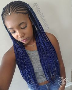 Fulani braids blue hair protective style on natural hair using feed in technique