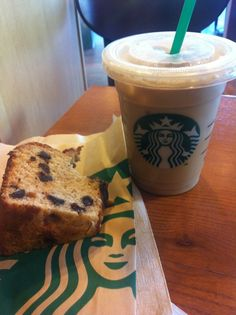 Favorite things to get at Starbucks. Banana choclate chip bread and iced chai!