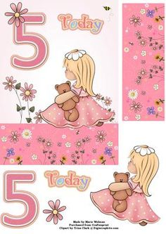 5th Birthday Girl on Craftsuprint designed by Marie Wolman - This is an easy step by step decoupage A5 card featuring a cute little girl sitting amongst the flowers with the number 5 on the card, all decorated with a soft pink background. - Now available for download!