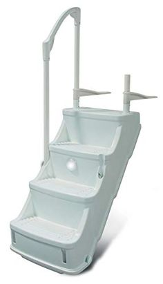 Top 20 Above Ground Pool Ladders and Steps Reviews 2020 Above Ground Pool Steps, Above Ground Pool Ladders, Above Ground Swimming Pools, In Ground Pools, Swimming Pool Steps, Deep Pool, Stair Lighting, Pool Supplies, Backyard For Kids