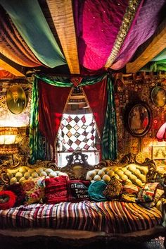 Two-Ring Circus - - The Gentleman's Quarters: saris from India, sofa from the Salvation Army Bohemian House, Bohemian Bedroom Decor, Boho Room, Gypsy Bedroom, Hippie House, Hippie Bohemian, Hippie Apartment Decor, Gypsy Home Decor, Gothic Bedroom