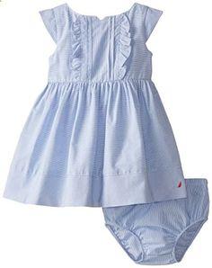 Easter dress summer Handknit cotton toddler dress 12-18 month dress gray striped baby dress pink blue