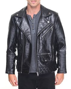 Find Faux Leather Biker Jacket Men's Outerwear from Buyers Picks & more at DrJays. on Drjays.com