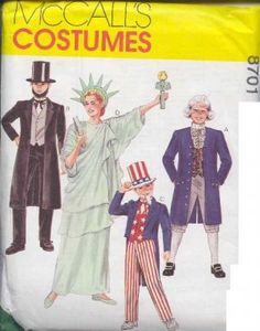 McCall's 8701 Costume – USA Patriotic, Uncle Sam, Statue of Liberty, George Washington Size: Uncut Sewing Pattern Mccalls Sewing Patterns, Vintage Sewing Patterns, Diy Costumes, Halloween Costumes, Halloween 2018, Costume Ideas, Oncle Sam, Patriotic Costumes, Jumper