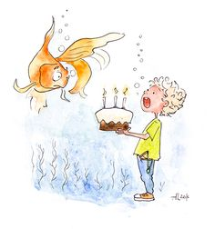 złota rybka, urodziny, ilustracja dla dzieci