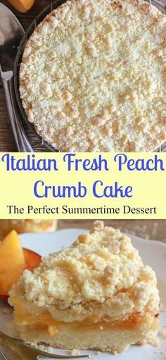 Italian Fresh Peach Crumb Cake, a delicious easy fresh fruit summer dessert recipe, perfect on it\'s own or with some ice cream. Have a slice/anitalianinmykitchen.com