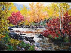 """River in the autumn forest"" Palette knife landscape painting technique...."