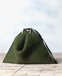 Celine Green Mohair Fortune Cookie Shoulder Bag - Winter 2013 #celine #handbags