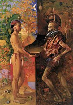 Jaime Zapata nació en Quito en 1957, vive y trabaja en París. Pintó este cuadro el año del quinto centenario aniversario del descubrimiento de América por C.Colón Sus obras se caracterizan por ser figurativas y de escenas irreales.   Vídeo de Jaime Zapata:...