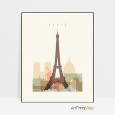 Paris print Poster Wall art France cityscape Paris skyline City poster Typography art Gift ArtPrintsVicky by ArtPrintsVicky City Poster, Paris Poster, Poster Wall, Poster Prints, Paris Wall Art, Paris Art, Skyline Art, Paris Skyline, Paris Kunst