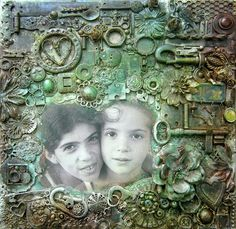 ... so I created a collage mixed media canvas with a photo of us when we were kids. This is her favorite photo of us so I was sure she will like it.