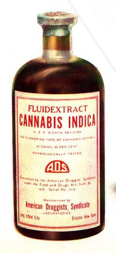 1906 Cannabis Indica Fluidextract Medicine made available by the American Druggist Syndicate in NY. This medicine was made from the flowering tops of cannabis sativa. an indica product made with sativa. Medical Cannabis, Old Bottles, Antique Bottles, Old Medicine Bottles, Glass Bottles, Vintage Advertisements, Garage Art, Vintage Ads, Poster