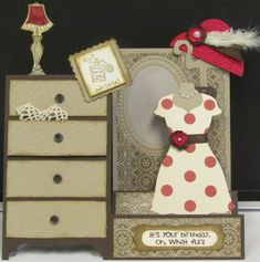 Ooh-la-la!-Stamps: Bring on the Cake, A little Love (retired) Paper: Chocolate Chip, Crumb Cake, Very Vanilla, Real Red, DSP Ink: Chocolate Chip, Baked Brown Sugar Accessories: Dress Up framelits, modern label punch, lace, postage stamp punch, 1' circle punch, extra large punch, ribbon, feather, pearls, brads Techniques: designer frame embossing