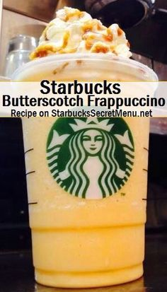 Starbucks Butterscotch Frappuccino Butterscotch isn't just a confectionery treat! It's also a delicious Frappuccino flavor that you can try by ordering this recipe! Frappuccino Flavors, Starbucks Frappuccino, Starbucks Coffee, Starbucks Secret Menu Items, Starbucks Secret Menu Drinks, Yummy Drinks, Yummy Food, Tasty, Scotch