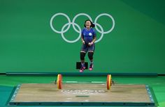 Neisi Patricia Dajomes Barrera of Ecuador celebrates after lifting during the Women's 69kg Group B weightlifting contest on Day 5 of the Rio 2016 Olympic Games at Riocentro – Pavilion 2 on August 10, 2016 in Rio de Janeiro, Brazil. (Photo by Julian Finney/Getty Images)