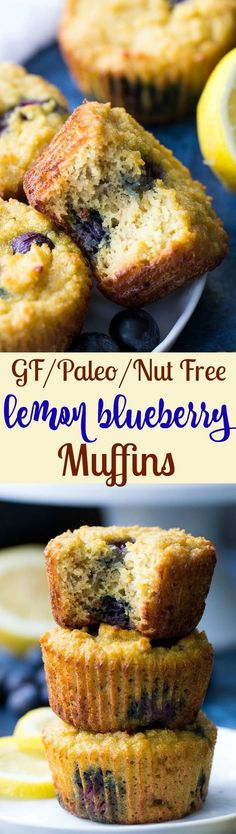 Light, sweet, moist and tender lemon blueberry muffins that are completely Paleo and nut free.  They're made with a blend of coconut and tapioca flour for a healthy breakfast or snack!  Gluten free, dairy free, kid-approved and easy.