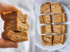 Healthy fudge with peanut butter Best Vegan Recipes, Raw Food Recipes, Baking Recipes, Dessert Recipes, Healthy Sweets, Healthy Baking, Healthy Fudge, Healthy Food, Vegan Treats