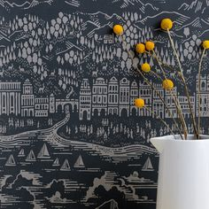 More from English brand Bold & Noble, Province, a slate-coloured dreamy cityscape, adorable and very pretty. Hats off.