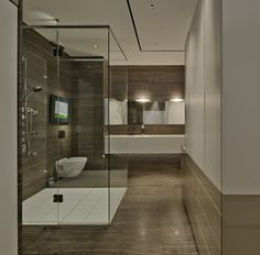 Interior Design. Impressive Modern Wood Paneling For Bathroom Walls Featuring Laminate Wooden Material In Dark Brown Finish On The Wall And Floor Incorporate Perfect Enclosure Shower With Transparent Glass Door Ideas. Tantalizing Modern Wood Paneling For Walls Ideas