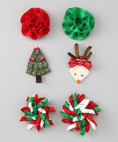 Take a look at this Red Reindeer & Tree Clip Set by The Hair Candy Store on #zulily today!