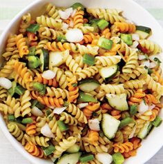 We're always on the lookout for pasta salads that can feed a crowd. Tricolor Rotini Salad fits the bill! It's meatless and dairy-free as well. Double bonus.