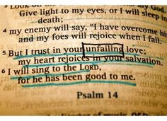 But I trust in your unfailing love; my heart rejoices in your salvation. I will sing to the Lord, for he has been good to me. ~ Psalm 14