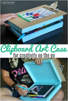 Keep your kids entertained AND spark their creativity while on the go with this clipboard road trip case. It's simple to make and the kids will love it!