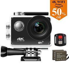 Caméra Action Sports étanches 4K Wifi, Reytour Caméra Sport 16MP Ultra HD Étanche 30M, Oeil de Requin plus Grand Angle de 170°, 2.0″ LCD…