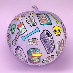 DO YOU CARVE OR PAINT YOUR PUMPKINS? 💜This weekend I thought I'd try painting pumpkins and decorated with some of my #halloweenstickers 💜 #stickersheets from my #halloweencollection printed by @awesomemerch which are in the shop now! More #pastelhalloween #enamelpins will drop throughout next week! 💜who's excited?! Check out my #pumpkindecor process in my stories 💜 Kawaii Halloween, Cute Halloween, Halloween Themes, Halloween Stickers, Painted Pumpkins, Pumpkin Decorating, Christmas Bulbs, Carving, Holiday Decor