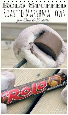 Rolo stuffed marshmallows! The perfect camping treat when you want something different than s'mores!