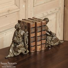 Antique Accessories ~ French Bookends on Antique French Louis XV Walnut Desk