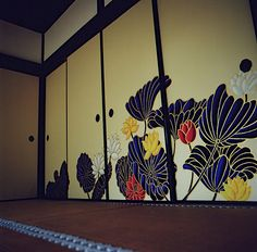 Opaque sliding doors can be opaque yet exuberant (Night Haus). Instead of flowers, ask Rebecca to paint some fishes.