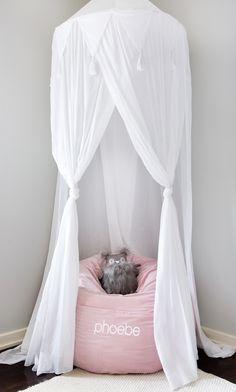 bean bag chair & canopy // little girls' pink & white bedroom