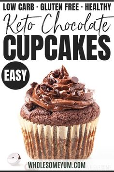 Low Carb Keto Chocolate Cupcakes Recipe (Almond Flour)- See how to make keto chocolate cupcakes with almond flour and no sugar! This keto low carb chocolate cupcakes recipe is rich sweet and ready in 30 minutes. Keto Friendly Desserts, Low Carb Desserts, Baking Desserts, Low Carb Cupcakes, Healthy Cupcakes, Healthy Chocolate Cupcakes, Chocolate Desserts, Low Carb Chocolate, Ketogenic Recipes