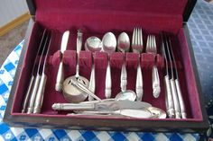 Danish Princess 1930s Flatware 41 Pieces Holmes And Edwards Scandanavian Design Silver Plate In Box by AntiquesAndTeacups on Etsy  #VintageSilver #GotVintage