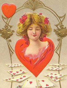 Queen of My Heart Vintage Valentine Postcard Fortune Valentine Series 1910
