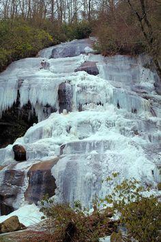 Frozen Daniel Ridge Falls in Pisgah National Forest in North Carolina, 150-foot #waterfall