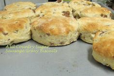 sausage gravy biscuits-the gravy is baked into the biscuits