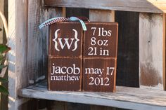 Personalized Wood Blocks - Baby Announcement - Newborn - Boy or Girl. $35.00, via Etsy.