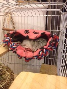 Love how this hammock covers the chinchilla while they sleep or rest. So awesome.