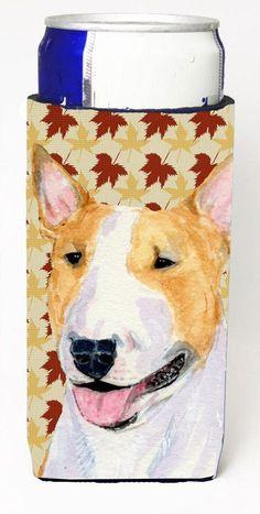 Bull Terrier Fall Leaves Portrait Ultra Beverage Insulators for slim cans SS4360MUK