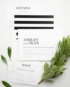 Contemporary Black and White Wedding Invitations