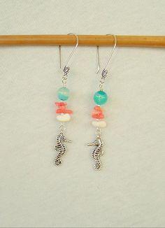 Boho Beach Earrings, Bohemian Jewelry, Beach Jewelry, Sea Horse