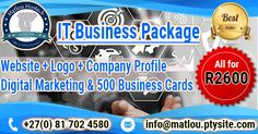 Grab this All-in-One IT Business Package for only R2600. Hurry-up as time is limited!!!
