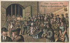 Ablieferung von gegenstanden aus metall. Libau Sagerplatz 5. Libau. Postcard 1916.