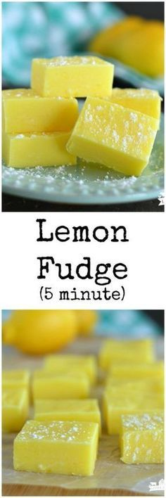 Fudge (Five Minute) Lemon Fudge only takes 5 minutes and 4 ingredients to make! It's a gorgeous pop of color to any dessert tray!Lemon Fudge only takes 5 minutes and 4 ingredients to make! It's a gorgeous pop of color to any dessert tray! Lemon Desserts, Lemon Recipes, Fudge Recipes, Candy Recipes, Sweet Recipes, Holiday Recipes, Delicious Desserts, Dessert Recipes, Yummy Food