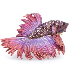 And to top it all off, how about this lovely Betta Fish trinket box! I love this so much! Red Purple Crowntail Betta Fish Trinket Box With Swarovski Crystal - Fantasyard Costume Jewelry & Accessories | Grandin Road Color Crush on Purple Thistle