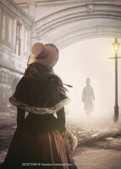 Sandra Cunningham HISTORICAL WOMAN BEHIND MAN IN SNOWY LONDON Couples